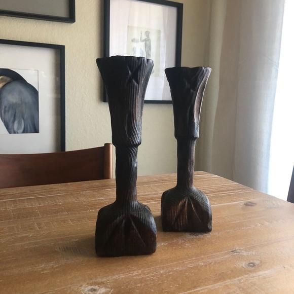 Vintage Wood Handmade Carved Column Candle Holder